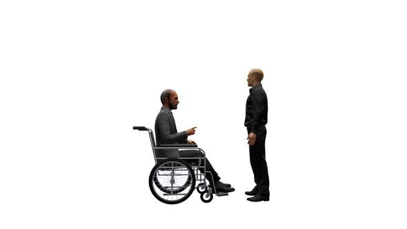 Thumbnail for Young man Talking with Disabled Old man