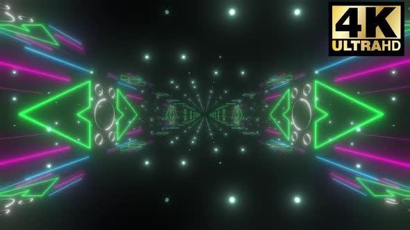 5 Colorful Endless Neon Corridor Pack 4k
