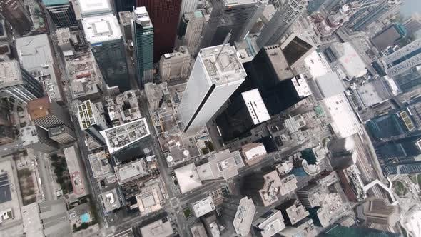 Toronto, Canada, Aerial  - Bird's eye view of the Downtown Skyscrapers