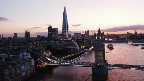 Ascending Evening Footage of Tower Bridge Over River Thames