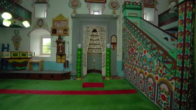Interior of Historic Small Wooden Mosque