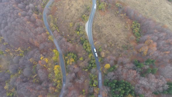 Thumbnail for Truck Passing on Road Trough a Forest, Aerial View of Truck and Cars Driving on Road