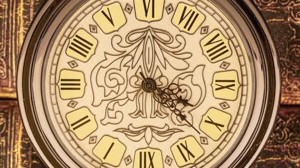 Spiral Clock Track of Time. Antique Clock Dial Close-up. Vintage Pocket Watch.