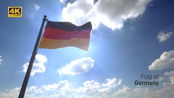 Germany Flag on a Flagpole V4 - 4K