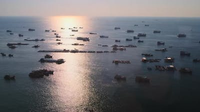 Traditional Fishing Vessels in Gulf in Vietnam Aerial View