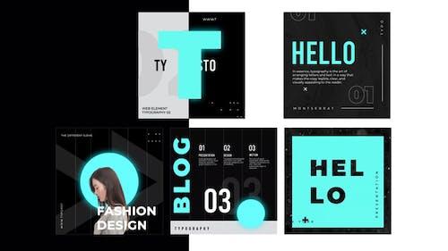 Typography black white post instagram
