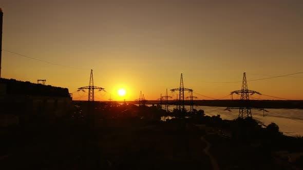 High voltage station at sunset