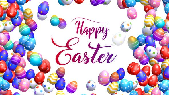 Happy Easter - Greetings with Easter Eggs Background