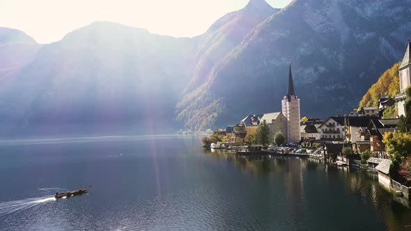 View Of Beautiful Austrian Mountains Village Hallstatt