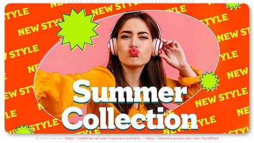 Sommer-Kollektion Mode-Promo im Retro-Stil
