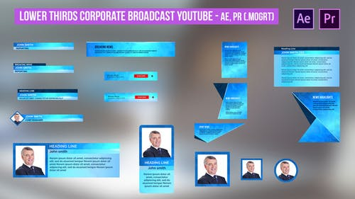 Lower Thirds Corporate Broadcast YouTube - AE, PR