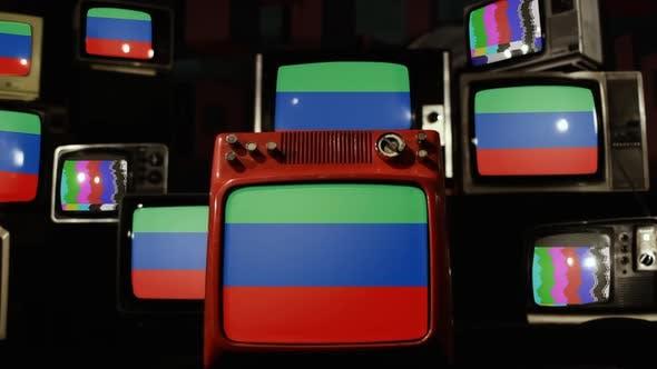 Thumbnail for Flag of Dagestan on Retro TV Stack.