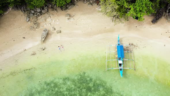 Small Lagoon with Sandy Beach, View From Above. Caramoan Islands, Philippines.