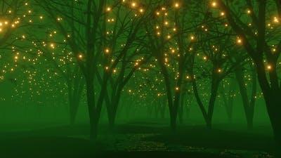 Fireflies in a foggy dark green woods