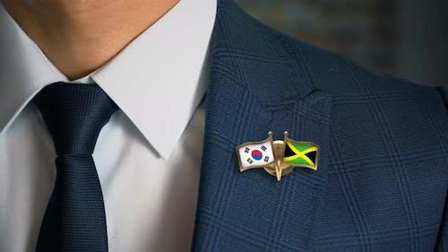 Businessman Friend Flags Pin South Korea Jamaica