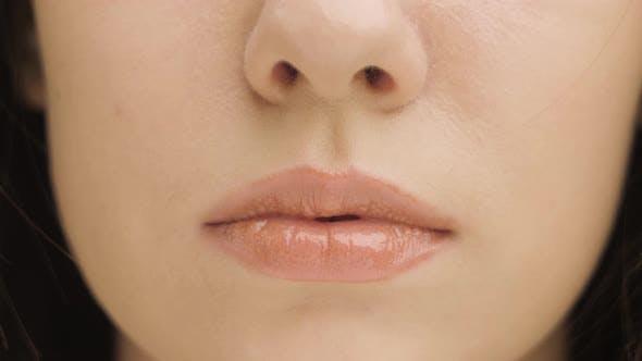 Close-up Perfect Natural Lip Makeup Beautiful Female Mouth. Plump Sexy Full Lips. Macro Photo Face