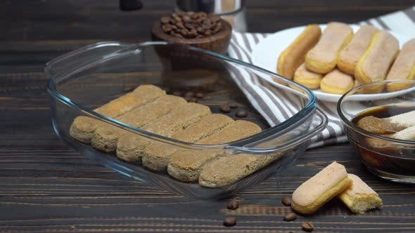 Cover Image for Tiramisu Cake Cooking - Italian Savoiardi Ladyfingers Biscuits and Coffee