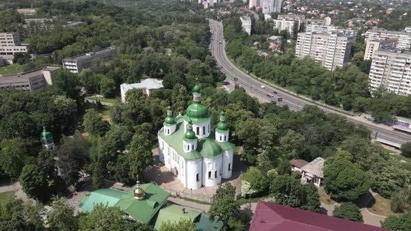 Kyiv. Ukraine: St. Cyril Church in Kyiv. Ukraine. Aerial View