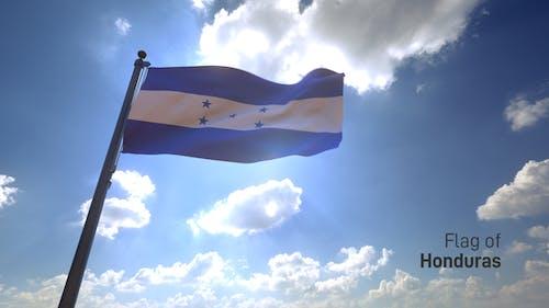 Honduras Flag on a Flagpole V4
