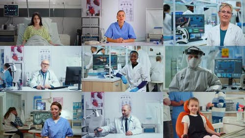 Medical Science Related Collage of Diverse Multi Cultural People