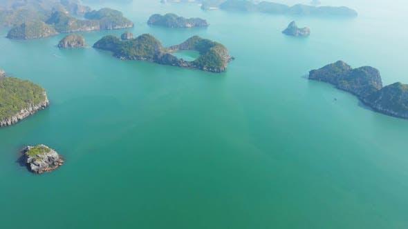 Thumbnail for Aerial: unique flying over Ha Long Bay Lan Ha bay Cat Ba island, Vietnam