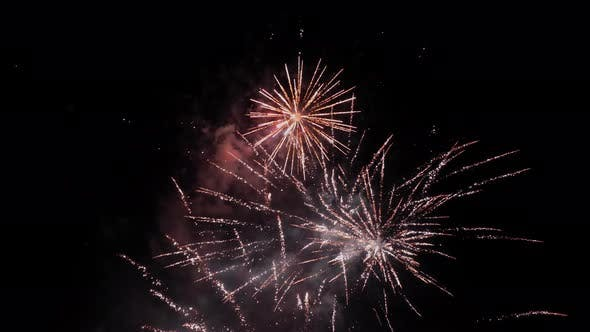 Thumbnail for Beautiful fireworks bursting in the night sky