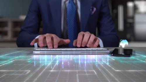 Businessman Writing On Hologram Desk Tech Word  Rewarding