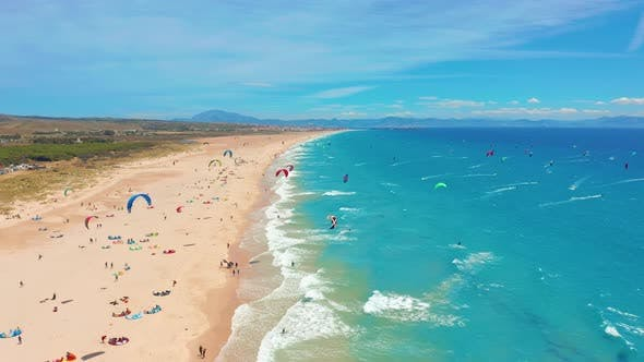 Cover Image for Large Beach Filled with Kite Surfers in Tarifa, Spain