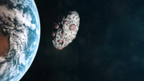 Cornavirus Virons Approaching Earth From Outer Space Embedded in an Asteroid