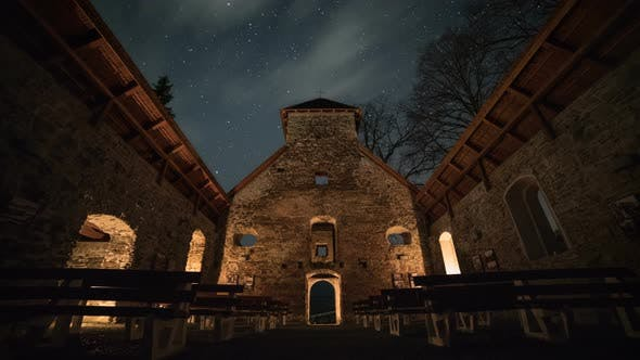 Thumbnail for Starry Night over Historic Church Ruin
