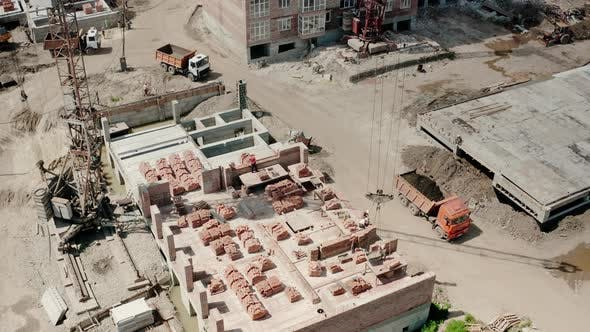 Thumbnail for Aerial Drone View of Construction Building in City.