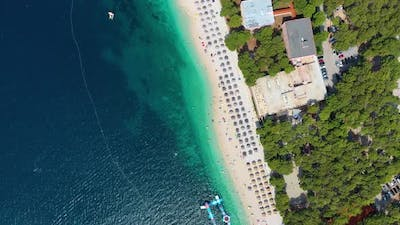 Croatia. Aerial view on the beach. Vacation and adventure. Beach and blue water.