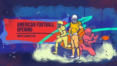 American Football 4K Opener/ Sport Promo/ Uniform/ Club/ Rugby/ Event/ NFL/ Gate/ USA/ America/ Flag
