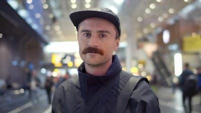Portrait of Millennial Man Look at Camera