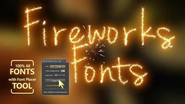 Fireworks Animated Font Pack with Tool