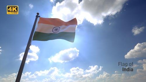 India Flag on a Flagpole V4 - 4K