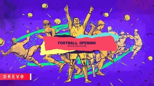 Abridor de futbol/Fútbol en Live/ TV Intro/ Deporte/ Pelola/ Cepillo dinámico/Dibujo/Promoción/Jugadores/Evento