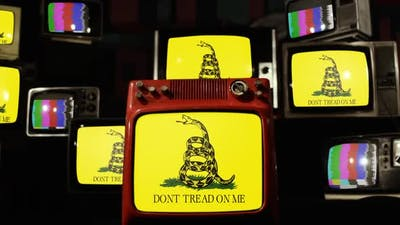The Gadsden Flag on Retro TVs.
