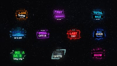 Neon Sale Titles || After Effects