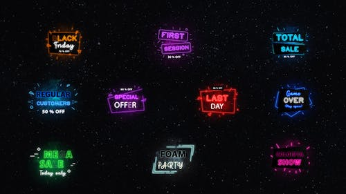 Neon Sale Titles    After Effects