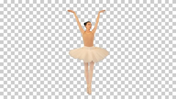 Ballerina walking on tiptoes and waving hands, Alpha Channel