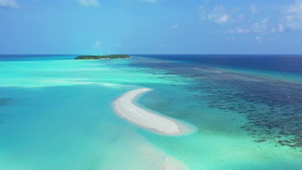 Thumbnail for Daytime overhead abstract shot of a sandy white paradise beach and aqua turquoise water background i