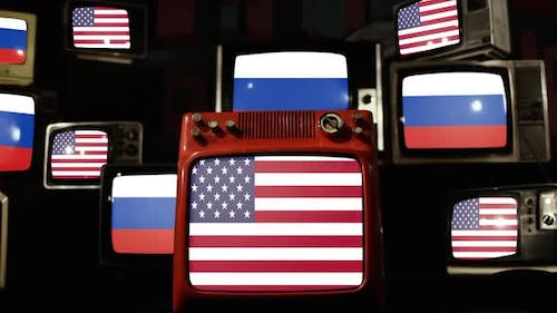 United States Flags and Russian Flags on Retro TVs.