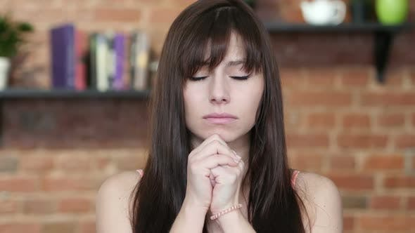 Cover Image for Woman Praying  for Forgiveness, Indoor