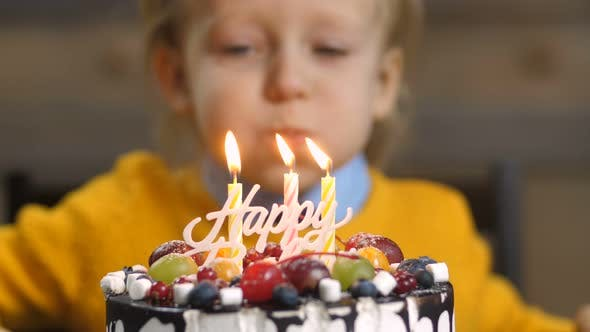 Thumbnail for of Boy Blowing Candles on Birthday Cake
