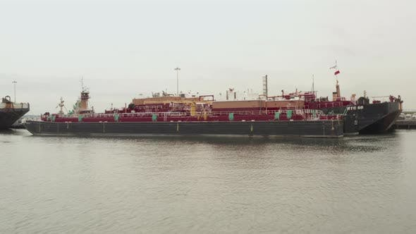 Thumbnail for Industrial Cargo Boat Ship in NYC Docks on Cloudy Day