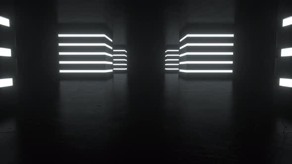 Seamless Abstract Sci-fi dark hall with bright white neon lights