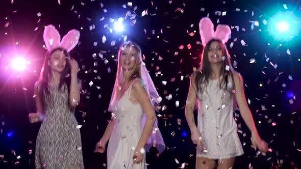 Thumbnail for Fun Girls at Bachelorette Party Dancing and Kiss the Bride