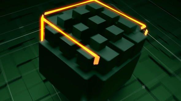 Tech Neon Cube Logo