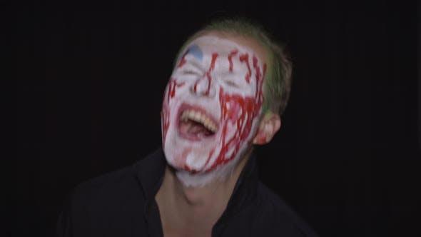 Thumbnail for Clown Halloween Man Portrait. Creepy, Evil Clowns Blood Face. White Face Makeup